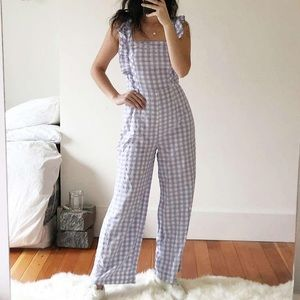 UO Emerson gingham ruffle jumpsuit